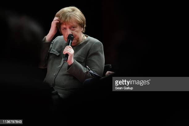 German Chancellor Angela Merkel speaks at the Global Solutions Summit on March 19 2019 in Berlin Germany The twoday summit is a forum on...