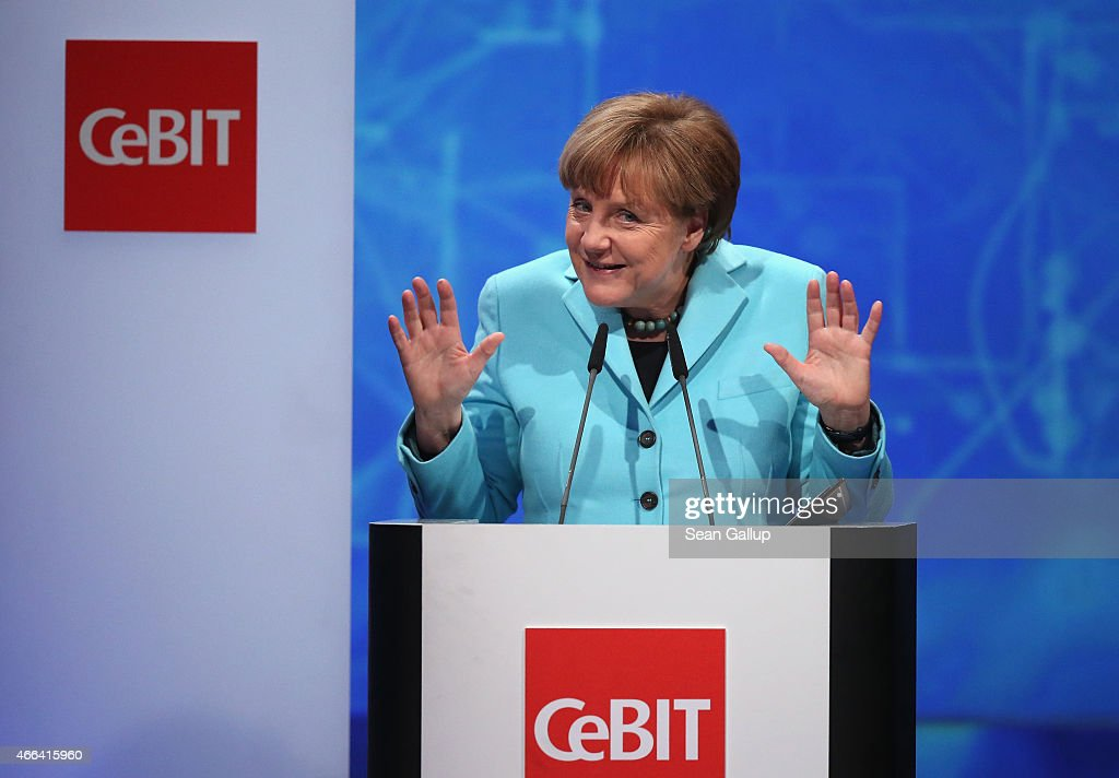 German Chancellor Angela Merkel speaks at the opening ceremony of the 2015 CeBIT technology trade fair on March 15, 2015 in Hanover, Germany. China is this year's CeBIT partner. CeBIT is the world's largest tech fair and will be open from March 16 through March 20.