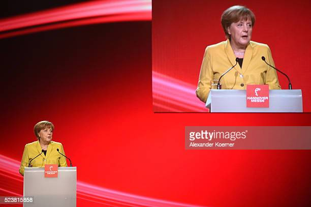 German chancellor Angela Merkel speaks at the opening evening of the Hannover Messe trade fair on April 24 2016 in Hanover Germany Obama met with...