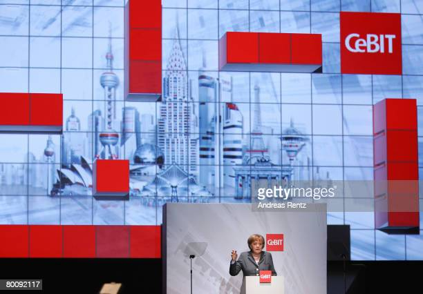German Chancellor Angela Merkel speaks at the opening of the CeBIT technology fair a day before the fair opens to the public on March 3, 2008 in...