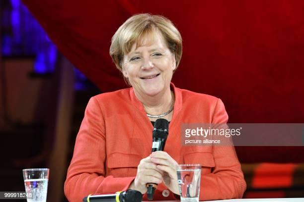 German Chancellor Angela Merkel speaks at the 'Tag der CDU im #fedidwgugl Haus' event in Berlin Germany 9 September 2017 Photo Paul Zinken/dpa