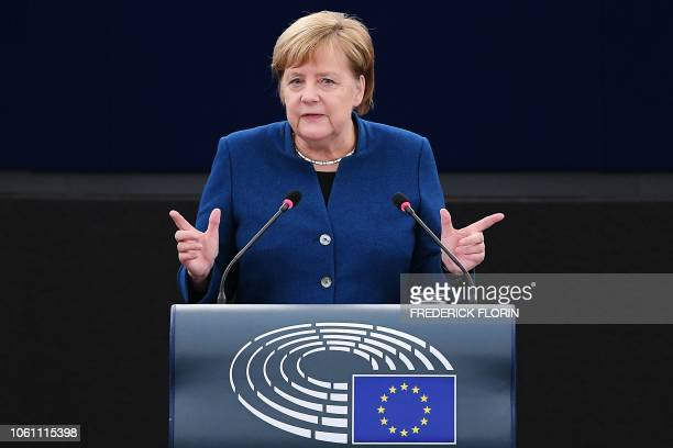 German Chancellor Angela Merkel speaks during a debate on the futur of Europe during a plenary session at the European Parliament in Strasbourg...