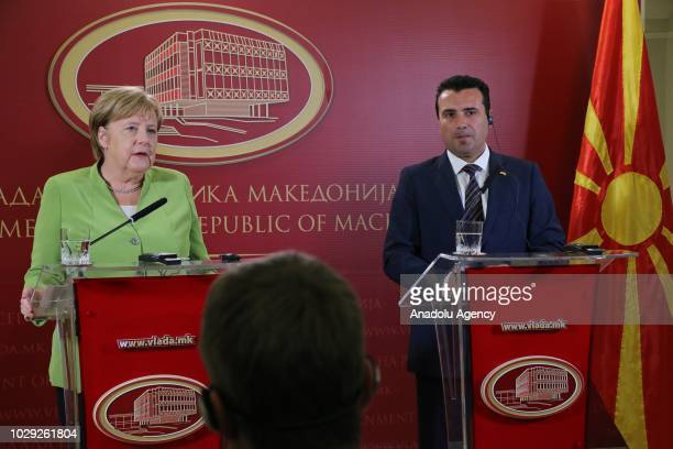German Chancellor Angela Merkel speaks during a joint press conference held with Macedonian Prime Minister Zoran Zaev in Skopje Macedonia on...