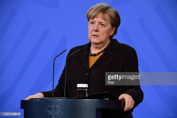 German Chancellor Angela Merkel speaks during a joint press conference with German Health Minister Jens Spahn at the chancellery on March 30, 2021 in...