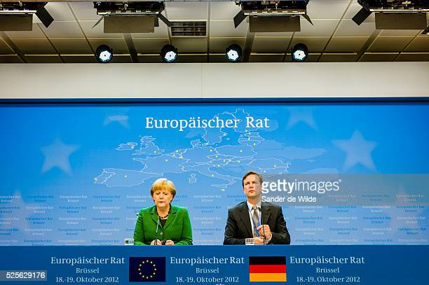 German Chancellor Angela Merkel speaks during a media conference after an EU summit in Brussels on Friday, Oct. 19, 2012. European leaders have taken...