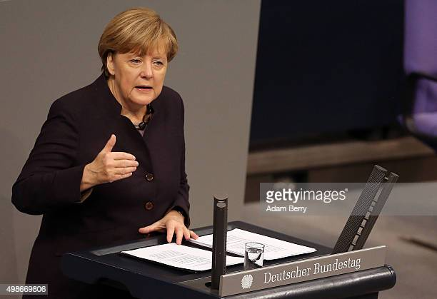 German Chancellor Angela Merkel speaks during a meeting of the Bundestag the German federal parliament as its members discuss the country's 2016...
