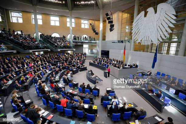German Chancellor Angela Merkel speaks during a plenary session at the German Parliament on March 21 2018 in Berlin Germany