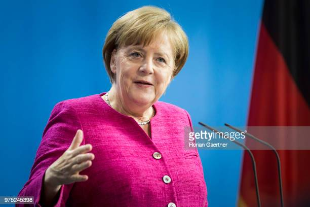 German Chancellor Angela Merkel speaks during a press conference with Jens Stoltenberg Secretary General of the NATO on June 15 2018 in Berlin Germany