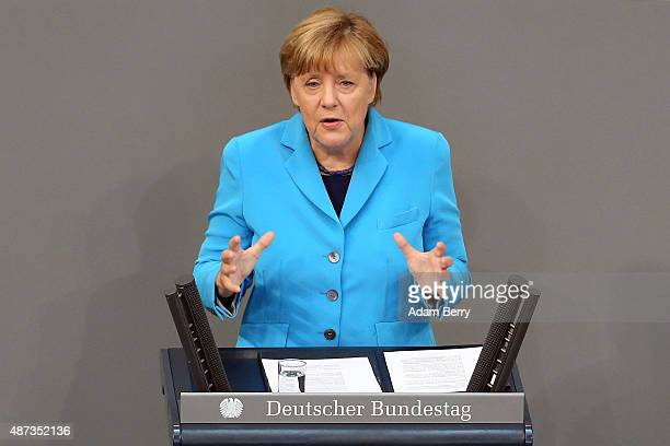 German Chancellor Angela Merkel speaks during a session of the Bundestag the German parliament on September 9 2015 in Berlin Germany Merkel spoke...