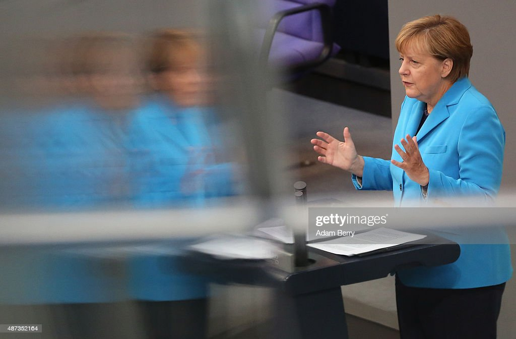 German Chancellor Angela Merkel (CDU) speaks during a session of the Bundestag, the German parliament, on September 9, 2015 in Berlin, Germany. Merkel spoke primarily about the refugee crisis currently being faced by Europe, and has stressed that a European Commission (EC) plan to spread 160,000 migrants among European Union member countries may not be sufficient as the Continent may need to be prepared to receive an even higher number of asylum seekers in the current wave.