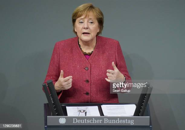 German Chancellor Angela Merkel speaks during debates over next year's federal budget at the Bundestag during the second wave of the coronavirus...