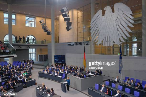 German Chancellor Angela Merkel speaks during debates over the next federal budget at the Bundestag on November 21 2018 in Berlin Germany Merkel made...