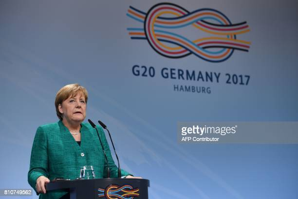 German Chancellor Angela Merkel speaks during the final press conference on the second day of the G20 Summit in Hamburg Germany July 8 2017 Leaders...