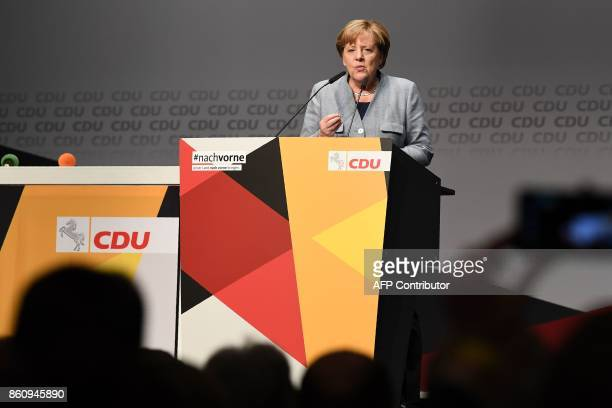 German Chancellor Angela Merkel speaks during the last campaign meeting of the leader of her Christian Democratic Union party in Lower Saxony and...