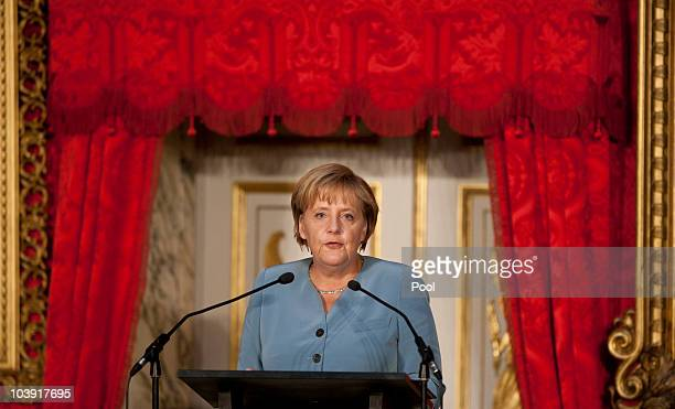German Chancellor Angela Merkel speaks during the M110 Media Award ceremony at Sanssouci Palace on September 8 2010 in Potsdam Germany The M100 Media...