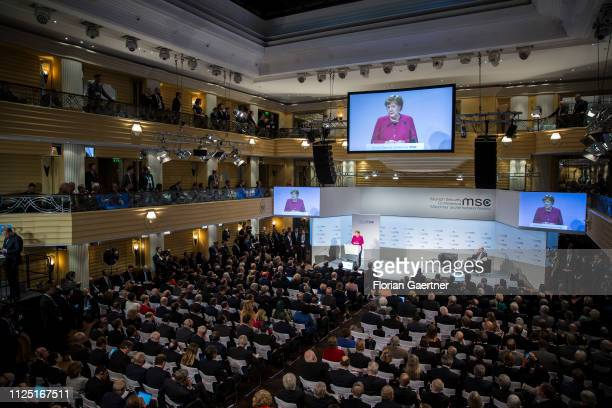 German Chancellor Angela Merkel speaks during the Munich Security Conference on February 16 2019 in Munich Germany The 55th Munich Security...