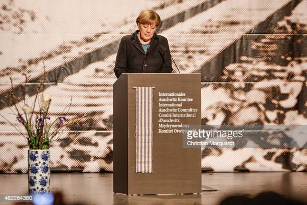 German Chancellor Angela Merkel speaks during the worldwide memorial day for the 70th anniversary of the liberation of the Auschwitz Concentration...