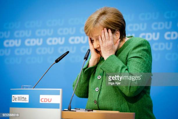 German Chancellor Angela Merkel speaks in the course of a press conference on February 19 2018 in Berlin Germany Annegret KrampKarrenbauer is...