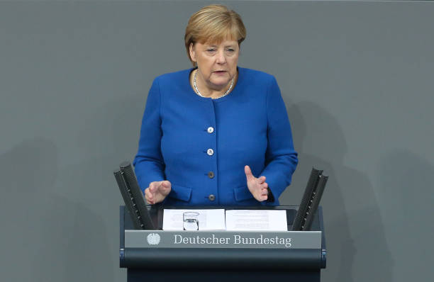 DEU: Merkel Gives Bundestag Speech Prior To European Council Summit