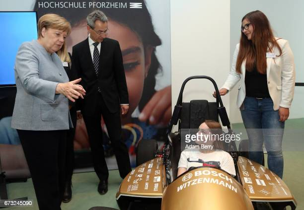 German Chancellor Angela Merkel speaks to participants at Girls' Day on April 26 2017 in Berlin Germany The event is meant to encourage young women...