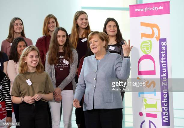 German Chancellor Angela Merkel speaks to participants of Girls' Day on April 26 2017 in Berlin Germany The event is meant to encourage young women...