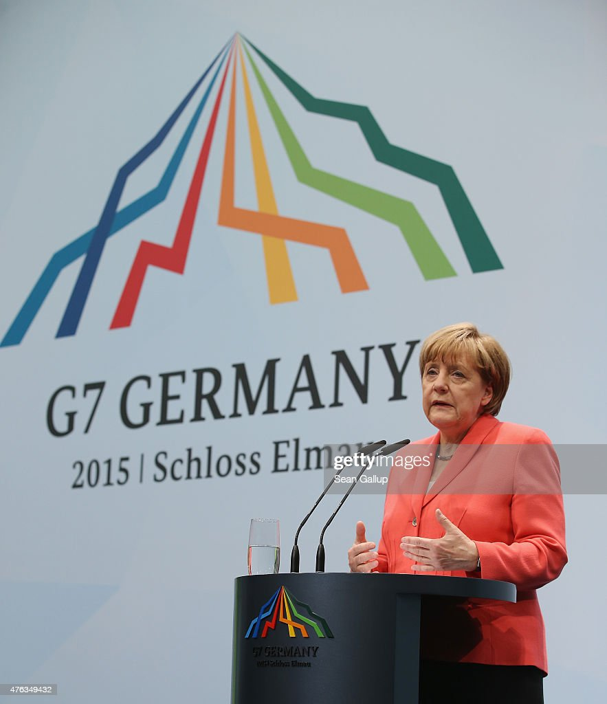 German Chancellor Angela Merkel speaks to the media at the conclusion of the summit of G7 nations at Schloss Elmau on June 8, 2015 near Garmisch-Partenkirchen, Germany. In the course of the two-day summit G7 leaders discussed global economic, health, climate and security issues.