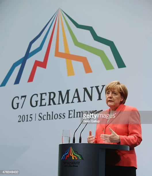 German Chancellor Angela Merkel speaks to the media at the conclusion of the summit of G7 nations at Schloss Elmau on June 8 2015 near...