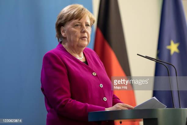 German Chancellor Angela Merkel speaks to the media following a video conference with the European Council during the coronavirus crisis on April 23,...