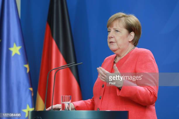 German Chancellor Angela Merkel speaks to the media following a videoconference with the European Council on June 19, 2020 in Berlin, Germany....