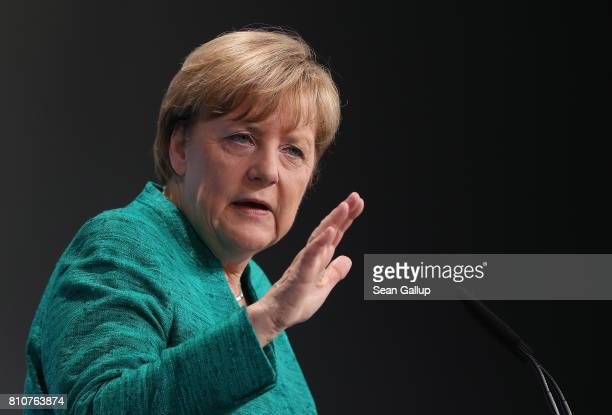 German Chancellor Angela Merkel speaks to the media following the conclusion of the G20 economic summit on July 8, 2017 in Hamburg, Germany. G20...