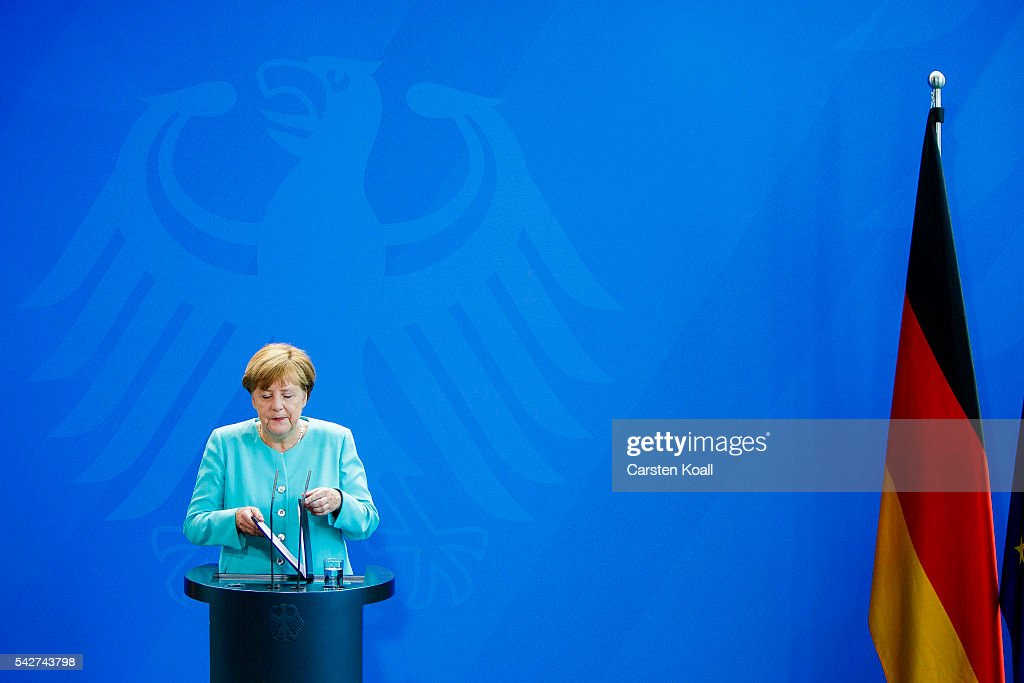 German Chancellor Angela Merkel speaks to the media following the United Kingdom's referendum vote to leave the European Union on June 24, 2016 in Berlin, Germany. Leaders across the EU are expressing disappointment and regret over Britain's decision to leave the European Union.