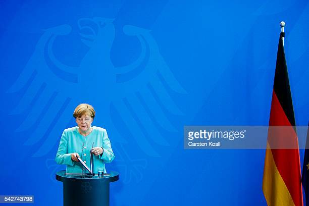 German Chancellor Angela Merkel speaks to the media following the United Kingdom's referendum vote to leave the European Union on June 24 2016 in...
