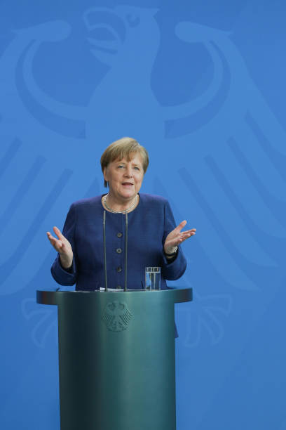 DEU: Merkel Makes First Public Appearance Since Quarantine Release, Speaks On Crisis Policies