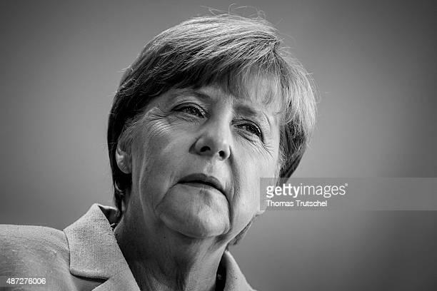 German Chancellor Angela Merkel speaks to the media on September 08 2015 in Berlin Germany