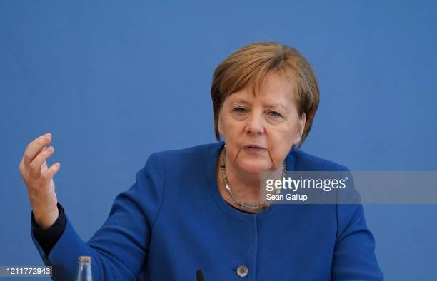 German Chancellor Angela Merkel speaks to the media over the ongoing coronavirus spread in Europe on March 11, 2020 in Berlin, Germany. The number of...