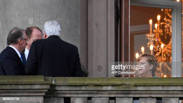 German Chancellor Angela Merkel State Premier for the state of Hesse CDU's Volker Bouffier Christian Democratic Union party's state Minister at the...