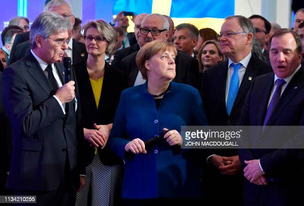 German Chancellor Angela Merkel Swedish Prime Minister Stefan Lofven Germany Minister for Education and Research Anja Karliczek and Lower Saxony's...