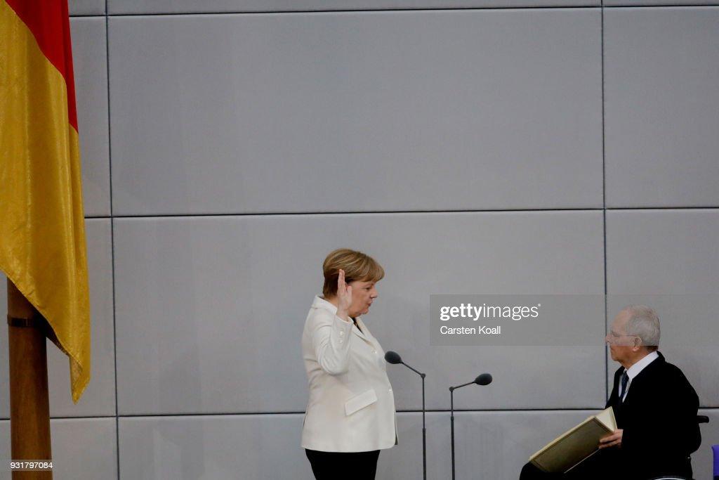 New German Government Sworn In, Merkel Takes Fourth Term : News Photo