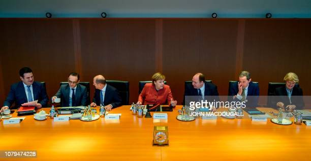 German Chancellor Angela Merkel takes part in a weekly meeting of the German cabinet at the chancellery in Berlin on January 9 2019