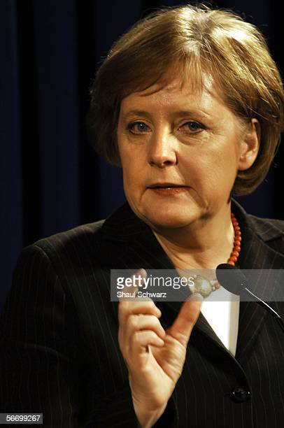 German Chancellor Angela Merkel talks during her joint press conference with Israeli acting Prime Minister Ehud Olmert on January 29 2006 in...