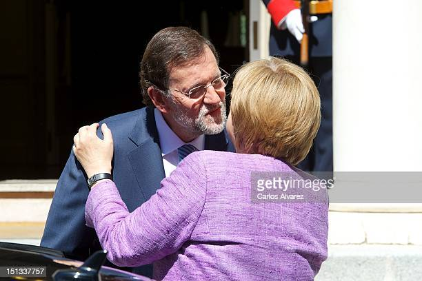 German Chancellor Angela Merkel visits Spanish Prime Minister Mariano Rajoy at Moncloa Palace on September 6 2012 in Madrid Spain Merkel will meet...
