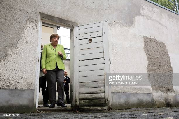 German Chancellor Angela Merkel visits the BerlinHohenschönhausen Memorial at the site of a former prison of the East German Ministry of State...