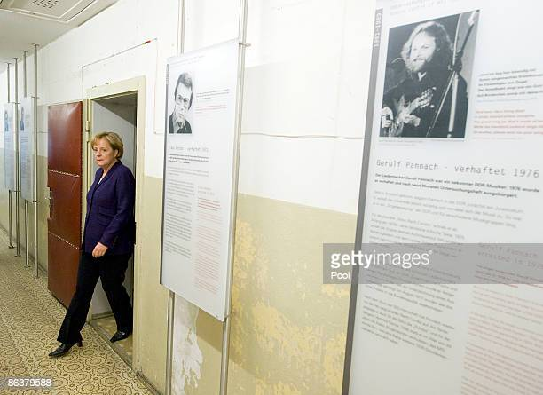 German Chancellor Angela Merkel visits the former prison of the East German communistera secret police known as the Stasi at Hohenschoenhausen on May...