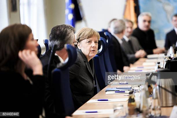 German Chancellor Angela Merkel visits the GTAZ antiterror center on April 26 2016 in Berlin Germany The GTAZ centralizes Germany's antiterror...