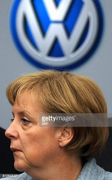 German Chancellor Angela Merkel visits the Volkswagen plant on May 15 in Sao Bernardo do Campo southern Sao Paulo Brazil Merkel is finishing a...