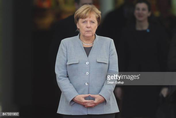 German Chancellor Angela Merkel waits for the arrival of new French Prime Minister Edouard Philippe at the Chancellery on September 15, 2017 in...