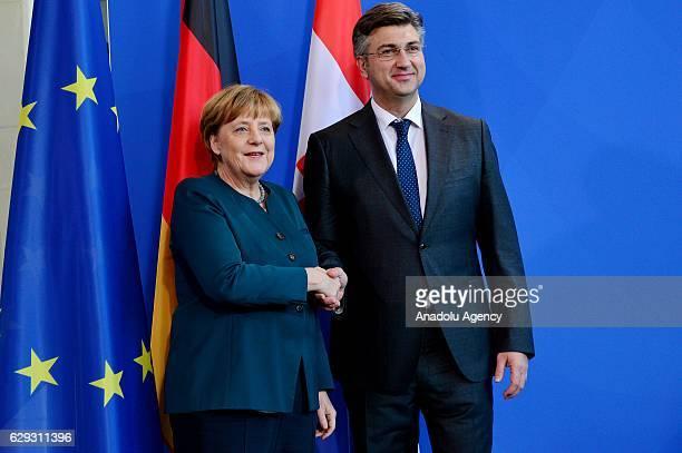 German Chancellor Angela Merkel welcome Croatian Prime Minister Andrej Plenkovic for an official visit in Berlin Germany on December 12 2016