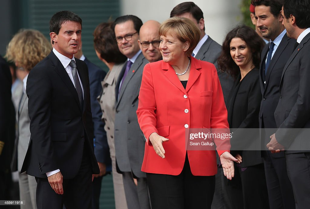 German Chancellor Angela Merkel welcomes French Prime Minister Manuel Valls at the Chancellery on September 22, 2014 in Berlin, Germany. Valls is on a two-day visit to Germany at a time when Merkel has been critical of the slow pace of French economic reforms.