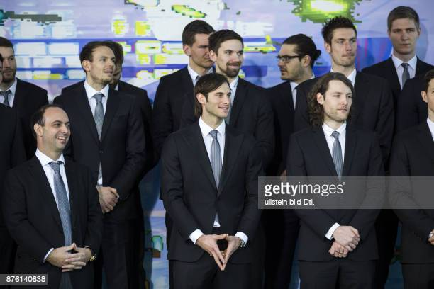 German Chancellor Angela Merkel welcomes German handball European champions on March 9 2016 at the Federal Chancellery in Berlin The captain of the...
