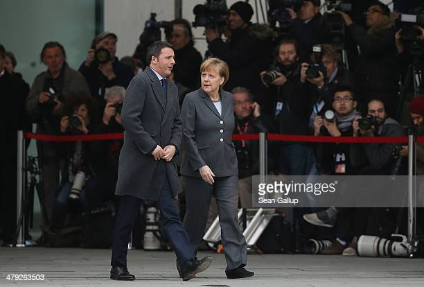 German Chancellor Angela Merkel welcomes Italian Prime Minister Matteo Renzi at the Chancellery for German and Italian government consultations on...
